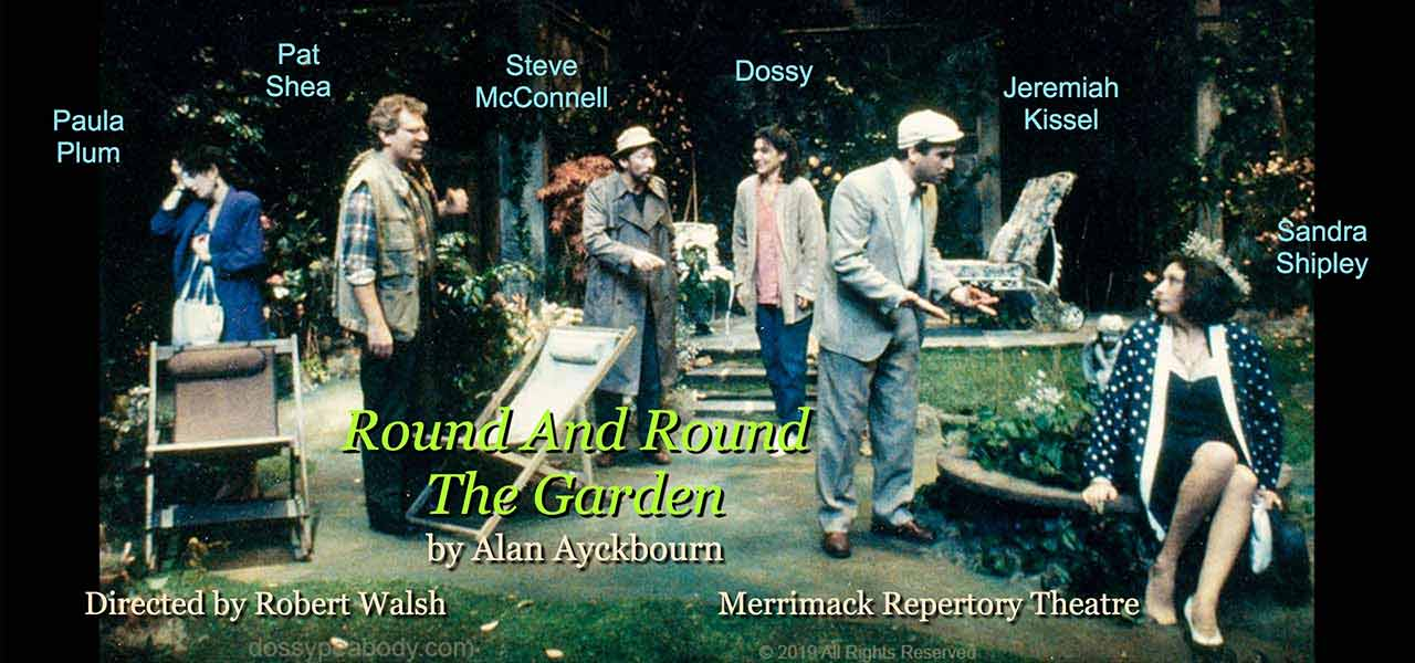 "Paula Plum, Pat Shea, Steve McConnell, Dossy Peabody, Jeremiah Kissel, Sandra Shipley, directed by Robert Walsh in Alan Ayckbourn's "" Round and Round The Garden"", at the Merrimack Repertory Theatre."